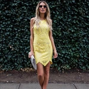 Yellow Lace Majestic Bodycon Dress